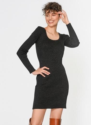 Loves You Kayık Yaka Simli Triko Elbise Siyah
